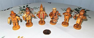"""Erzgebirge Miniatures """"The Clown Band"""" Set of 6 Musicians Natural Wood Germany"""