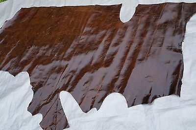 Two tone Dark Brown glossy cowhide leather side 1.96 sq m  Chrome tanned