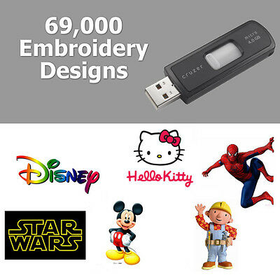 69,000 Embroidery Designs On Usb Pes Format Brother Babylock Bernina Machines