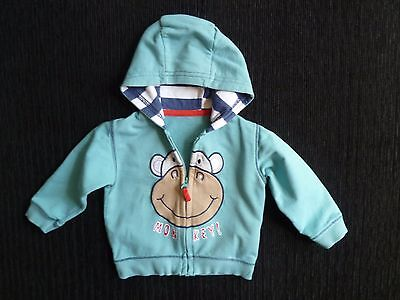 Baby clothes BOY 6-9m M&S monkey zip sweatshirt-style hood jacket blues