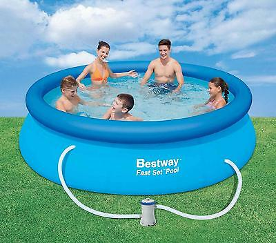 """Bestway 10' x 30"""" Family Inflatable Fast Set Round Swimming Pool Kit Filter Pump"""