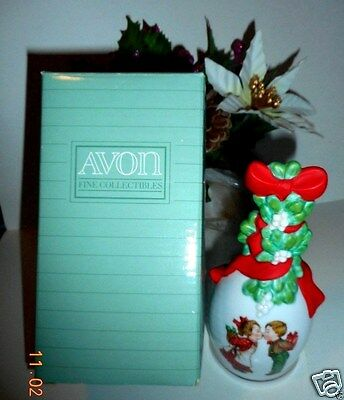 """Avon Collectables 1989 porcelain Christmas Bell """"Under the Miseltoe."""" theme."""