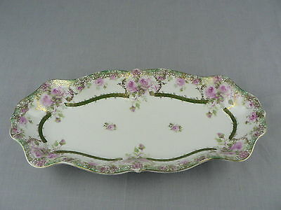 Vintage Porcelain Relish Tray Made in Germany Rose Pattern Stamped C.T.