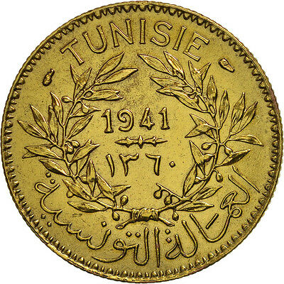 [#451779] Tunisia, Anonymous, 2 Francs, 1941, Paris, AU(55-58), Aluminum-Bronze