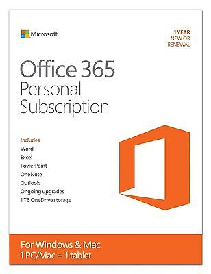 Microsoft Office 365 Personal Subscription 1 Year New/Renewal - Download