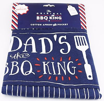 Fathers Day Gift Blue Apron with Pocket For Dad BBQ King Father's Day Birthday