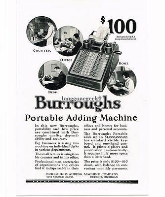 1926 Burroughs Portable Adding Machine Office Calculator Vtg Print  Ad