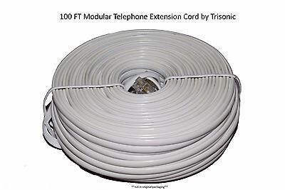 100Ft. Phone Extension Cable Modular Line Cord White