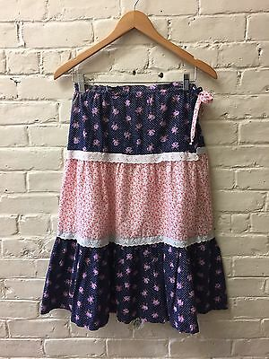 Vtg 70s L M Girl Prairie Skirt Colonial Tiered Drawstring Waist