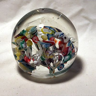 Scrambled or Scattered Millefiori Glass Paperweight