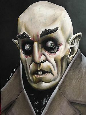 Nosferatu Original Pencil Drawing. Fan-ART A4. Classic Horror Vampire