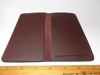 North Star Burgundy Side Tear Leather Checkbook Cover-F. Second-USA Made-#130
