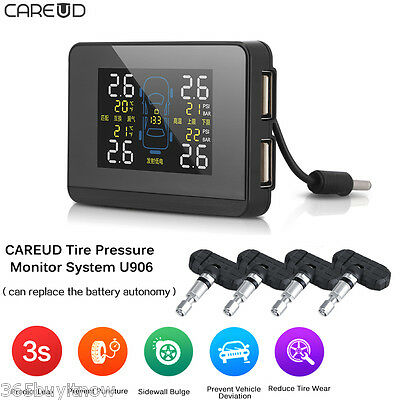 Auto Wireless TPMS Tire Pressure Monitor System+4 Replaceable Battery Sensors UK
