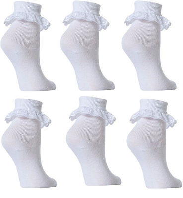 12 Pairs GIRLS SCHOOL COTTON LACE SOCKS FRILLY LACE ANKLE SOCKS 8-11 AGES  SDCFV