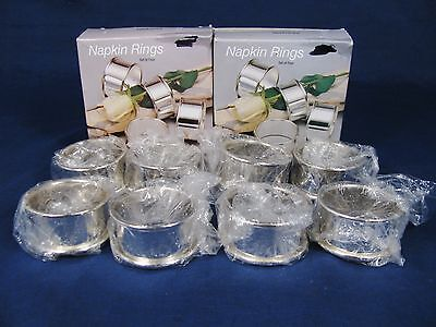 WM A ROGERS Oneida Silversmith Set of 8 Napkin Rings Silver Plated w/ Orig Boxes