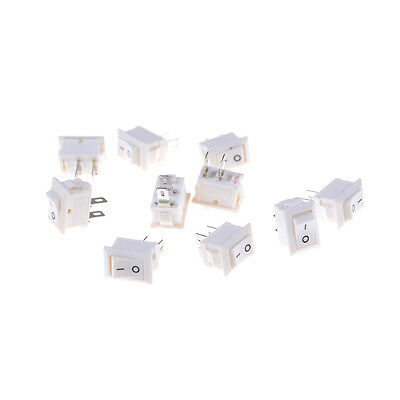 10pcs 2pins KCD11 On/Off 3A 250V 15x10mm Rocker Power Switch White1s
