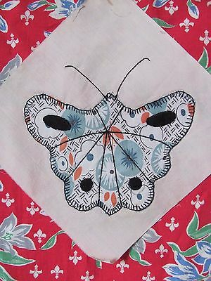 "Antique Vtg BUTTERFLY QUILT BLOCK 8.75"" sq HAND-Embroid BLUE/ORANGE c1930-40's"
