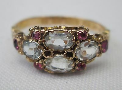 Victorian Antique 15ct Gold Aquamarine & Ruby Ring 1866 Size Q