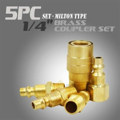 "New 1/4"" Brass quick Coupler 5 pc Set Milton Type Air Coupler Compressor Tool"