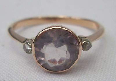 Edwardian 9ct Gold Bezel Set Amethyst & Rose Cut Diamond Solitaire Ring Size R