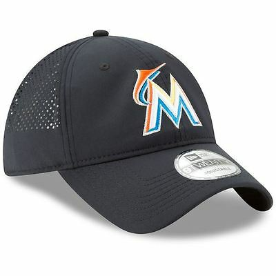 Miami Marlins Adjustable Hat New Era Men's Perf Pivot Cap 9FORTY Black OSFA