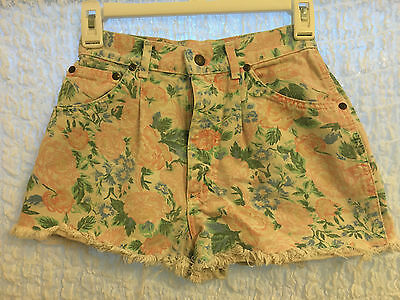 Vintage, Lee, Juniors, High Waisted, Floral Print, Cutoff Shorts, Size 1