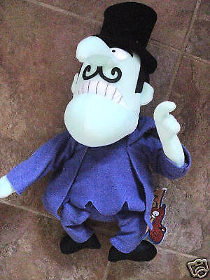 """Snidely Whiplash Stuffed Plush 12"""" Figure from Rocky & Bullwinkle - 1999"""