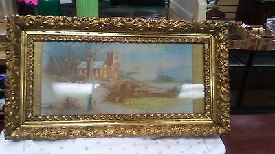 Ornate Antique Frame Gesso And Wood Gold Print And Frame