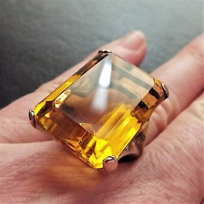 Huge Vintage Sterling Silver Goldwash 42ct Citrine Paste Statement Cocktail Ring