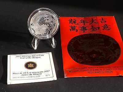 Canada 2012 $10 Year Of The Dragon Fine 9999 Silver Coin
