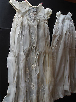 """2 pcs Antique LONG TRAIN Hand Embroidery Organdy 94"""" Full Sweep Baby Doll Gowns"""