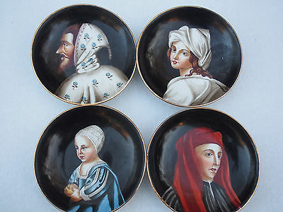 4 Old Italian Portrait Hand Painted Miniature Giotto Cimabue Wall Plates Set