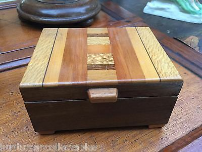 Vintage Selection Marquetry Sample of New Zealand Timbers Jewellery Trinket Box