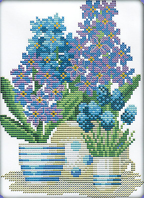 Potted Flowers (3) 11CT pre-printed cross stitch kit, 32 x 23cm fabric. CSK0465
