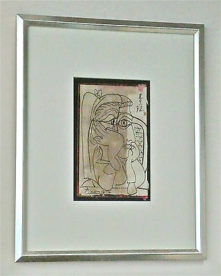 PABLO PICASSO -- A RARE 1930s ORIGINAL INK DRAWING, CUBIST LADY, SIGNED, FRAMED