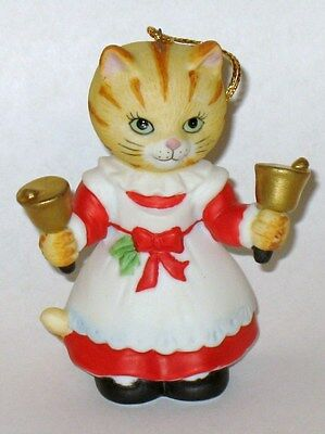 1994 Hand Bell Ringing Cat Ornament by BC Collectibles Sri Lanka - Orange Tabby