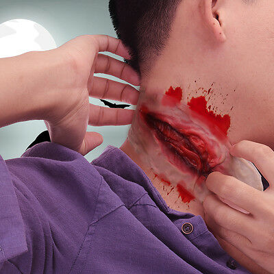 Latex Fake Wound Cut Scar Mask Special Effect Slashed Neck Reel Gurgle