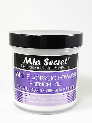 Mia Secret WHITE Acrylic Powder FRENCH-3D 4 oz + FREE SHIPPING