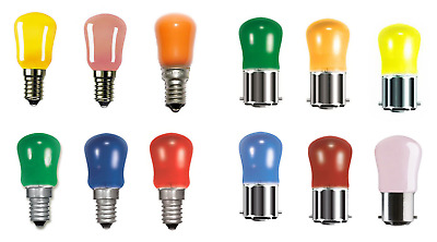 15w Coloured Pygmy Light Bulbs Lamps BC SBC SES Pink Blue Yellow Amber Green Red