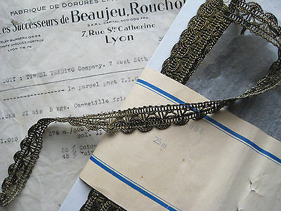 "Vintage Antique French Dark Gold Metallic Lace Trim 5/8"" Lampshade Pillow"