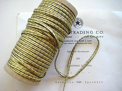"2 yd FrenchVintage Antique Gold/Blue Metallic Soutache Braid Trim 3/16"" Military"