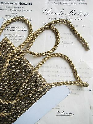 1 yd Vintage Antique French Gold Metallic Rope Cord Trim 1/4""