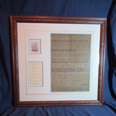 Rare Antique Early American Framed 19th Century Sampler With Photo & Family Tree