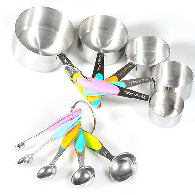 10pc Stainless Steel Kitchen Tool Set Measuring Cups Spoons Silicone Insulation