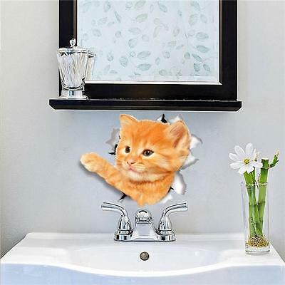 Cute 3D Dog Cat Bathroom Toilet Removable Wall Stickers Mural Decals DIY Decor F