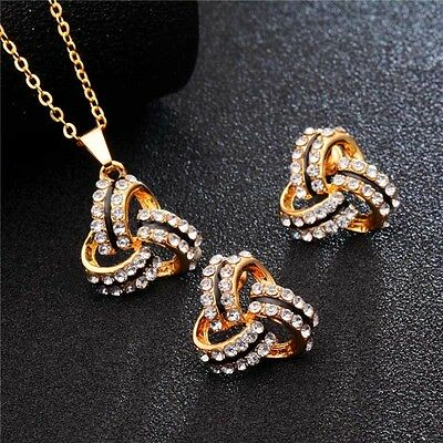 18K Gold Plated Knot Crystal Jewelry Set Pendant Necklace Stud Earrings