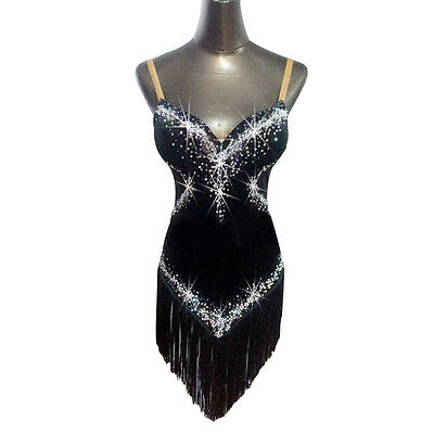 Professional ballroom Latin rumba samba chacha match dancing dress tassel black