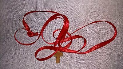 2 Simple Wooden Crosses Red Ribbon Blessed to 2 True Cross 1th Class Relics
