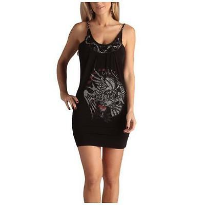 "Designer - ED HARDY "" Tiffani BLACK Dress - SIZE LARGE - BRAND NEW WITH TAGS"