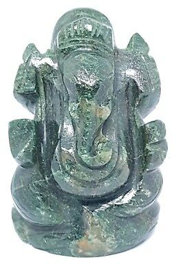Ganesha Ganesh Jade Crystal Carved Elephant God Statue Hindu Gemstone Idol Murti